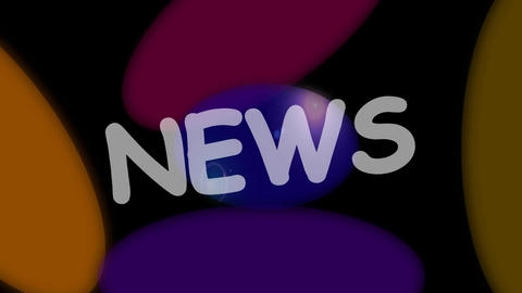 News intro headline, animated banner with colorful disks and white title. FullHD Animation