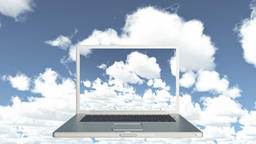 4k Cloud Computer Data Storage,Laptop play video of time lapse clouds,blue sky Footage