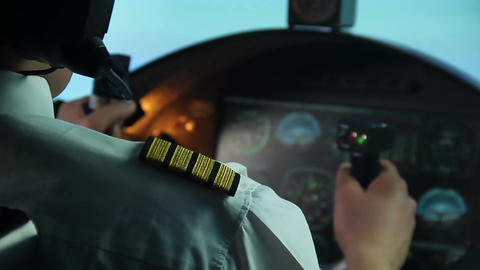 Airline pilot trying to prevent accident, plane shaking in turbulence, danger Footage