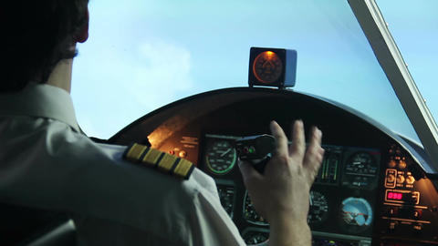Professional pilot having tremors while navigating airliner, health problems Footage
