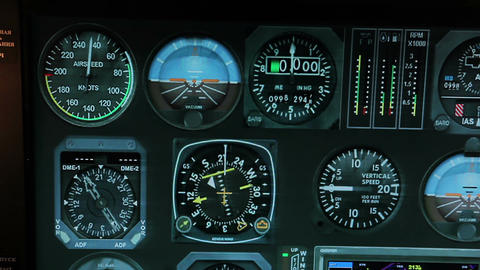 Flight control system showing altitude and speed details, aircraft navigation Footage
