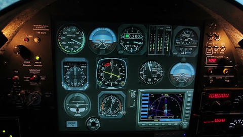 Normal flight indicators on aircraft cockpit panel, plane control system tools Live Action