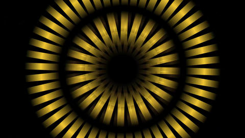 Circle metallic elements rotating left and right, zooming and changing colors. A Animation