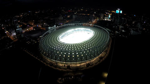 Modern architecture landmark, majestic stadium construction illuminated at night Footage