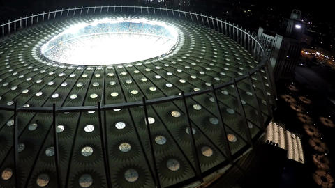 Impressive construction of sports arena with football field, modern architecture Footage