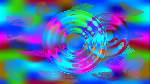 Wild colored psychedelic abstract video with moving circle shapes reminds colore Animation