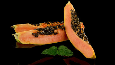 Slices of sweet papaya Footage