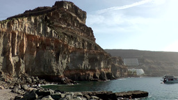 Spain Gran Canary Mogán 009 The Big Rock At Port Entrance stock footage