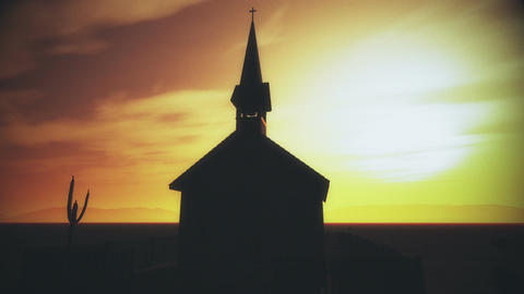 Old Wooden Christian Chapel in a Desert 3 Animation