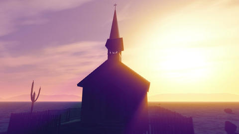 Old Wooden Christian Chapel in a Desert with Lightrays 2 Animation