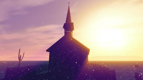 Old Wooden Christian Chapel in a Desert with Lightrays and Fireflies 3 Animation