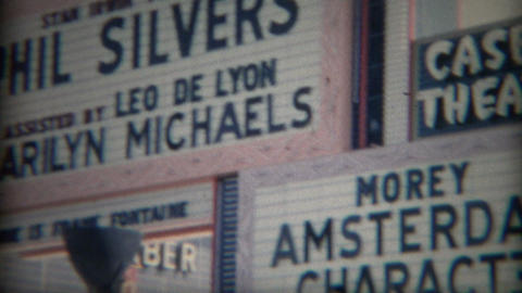 1965: Casbar Theater giant marquee signs of performance arts talent Footage