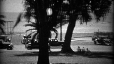 1934: View from the historic White House Hotel on gulf coast Footage