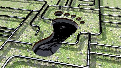 Carbon footprint oil pipeline pipe line foot print oil climate change 4k Footage