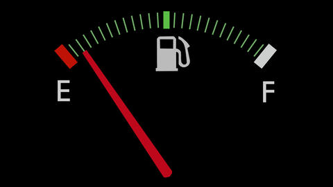 Fuel gauge full-empty-full car dashboard meter 4K Footage