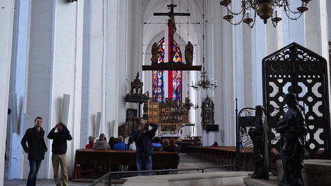 Interior Of St Mary's Cathedral In Gdansk, Poland Footage