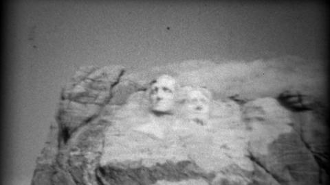 1937: Mount Rushmore National Monument under construction closeup Footage