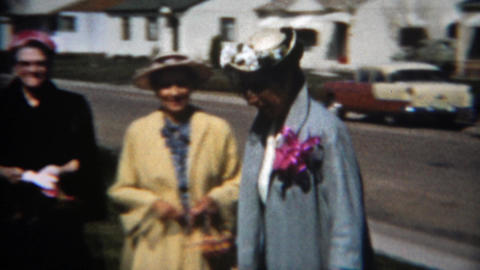 1957: Family happy skipping Easter party arrival in proper formal dress Footage