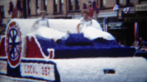 1951: Teamsters local 397 parade float white 50's style glamour Live Action