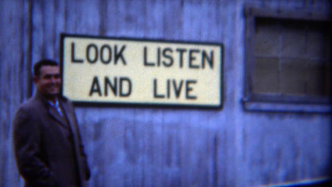 1949: Lumbermill health safety signs business liability common sense advice Footage