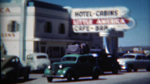 1949: Little America Hotel Cabins Gas Station Rest Stop Care Bar Historic Scene stock footage