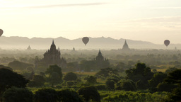Timelapse Of Hot Air Balloons Over Temples,Bagan,Burma stock footage
