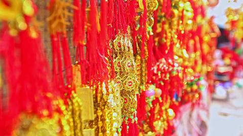 Close View Red Golden Decorations for TET on Market in Vietnam Footage