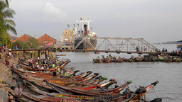 Timelapse of busy pier with small passenger ferries,Yangon,Burma Footage