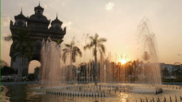 Timelapse of fountains at Patuxai at sunset,Vientiane,Laos Footage