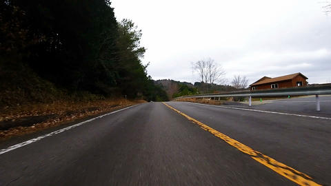 Front bumper view. The car is running the exit of the forest in a high speed Footage