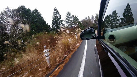 Side window view. The car running a difficult S-shaped corner Footage