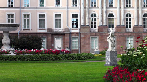 Royal Park With Marble Sculptures stock footage