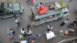 Loading of mini bus seen from above,Mandalay,Burma Footage