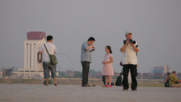 Tourists Making Photos At Mekong River,Vientiane,Laos stock footage