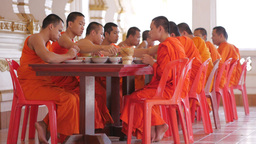 Monks Eating Lunch,Vientiane,Laos stock footage