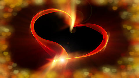 Fiery red ribbon heart with vivid colorful bokeh lights, the concept of love Animation