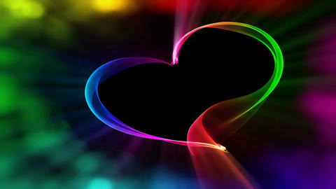 Vivid colorful heart ribbon with bokeh lights, the concept of love Animation
