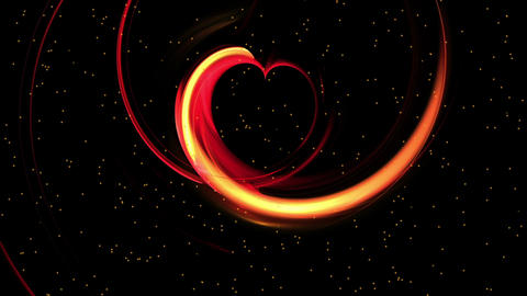 Fiery red dynamic heart, the concept of love Animation
