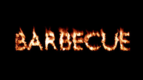 Barbecue Hot text brand branding iron flaming heat flames overlay 4K Live Action