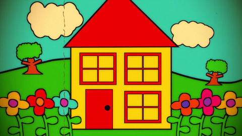 House Childrens Cartoon Kids Toon Intro Opening Show Title Vintage 4k stock footage