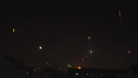 Fireworks on New Year's Day in Time Lapse Footage
