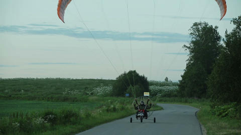 Paramotor Takes Off stock footage