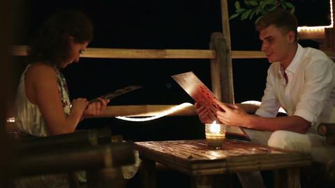 Romantic dinner in restaurant Footage