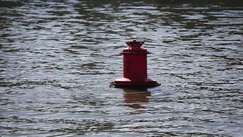 Red Buoy on the Water Footage