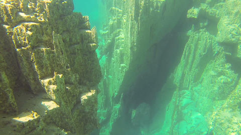 underwater rocks on the bottom of the lakes Footage