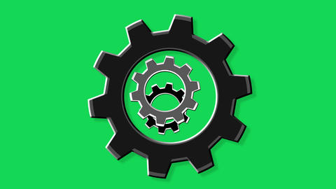 Rotate gears green screen Stock Video Footage