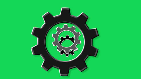 Rotate gears green screen Animation