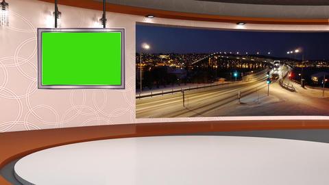 News TV Studio Set 254- Virtual Background Loop Footage