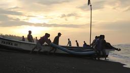 Fishermen pushing the boat Footage