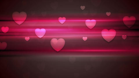 Dark pink hearts and glowing stripes motion design Animation